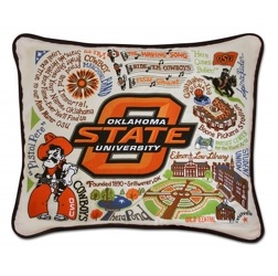 <b>OSU Hand-Embroidered Pillow</b> from Scott's House of Flowers in Lawton, OK