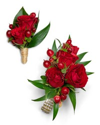 Crimson Corsage and Boutonniere Set from Scott's House of Flowers in Lawton, OK