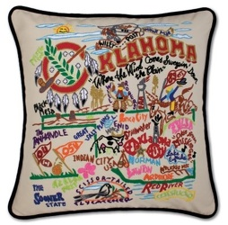 <b>Oklahoma Hand-Embroidered Pillow</b> from Scott's House of Flowers in Lawton, OK