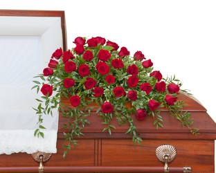 Simply Roses Deluxe Casket Spray from Scott's House of Flowers in Lawton, OK