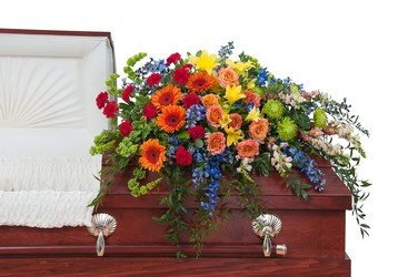 Treasured Celebration Casket Spray from Scott's House of Flowers in Lawton, OK