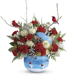Teleflora's Cardinals In The Snow Ornament from Scott's House of Flowers in Lawton, OK