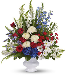 <b>Patriotic Tribute Arrangement</b> from Scott's House of Flowers in Lawton, OK