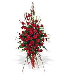 <b>Crimson Standing Spray</b> from Scott's House of Flowers in Lawton, OK