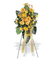 <b>Golden Sympathies Easel Spray</b> from Scott's House of Flowers in Lawton, OK